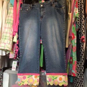 Lilly Pulitzer Denim Blue Jeans w/ Flowers Sz 14